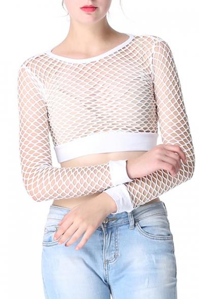Women's Out Tee Plain Cropped Hollow Fishnet Fashion Round Neck Sexy Zqa7SZ