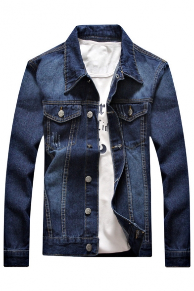Fashion Jacket Lapel Long Ripped Pockets Down with Sleeves Button Autumn Denim Chest FdwxC4qF