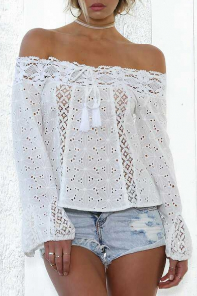 Beach Style Off the Shoulder Lace Panel Tassel Bow Front Hollow Out Loose Blouse