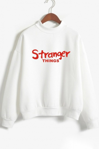 Long Pullover Causal Sleeves Sweatshirt Printed Mock Letter Neck aUC6xqIYC