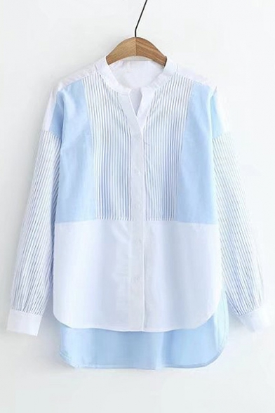 Shirt V Color Chic Hem Dip Striped Single Long Neck Sleeve Breasted Block RPSqxnU
