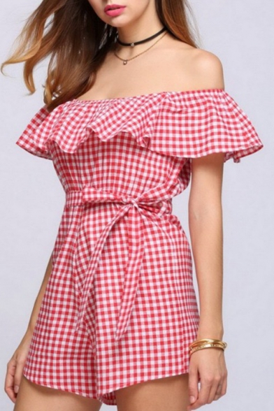 Chic Off the Shoulder Gingham Plaids Ruffle Detail Belted Wide Leg Romper