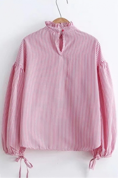 Chic Striped Pattern High Ruffle Neck Attached Lacing Bow Cuffs Long Sleeves Blouse