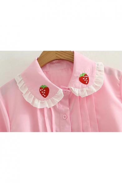 Childish Strawberry Embroidered Ruffle Peter Pan Collar Button Down Pleated Shirt