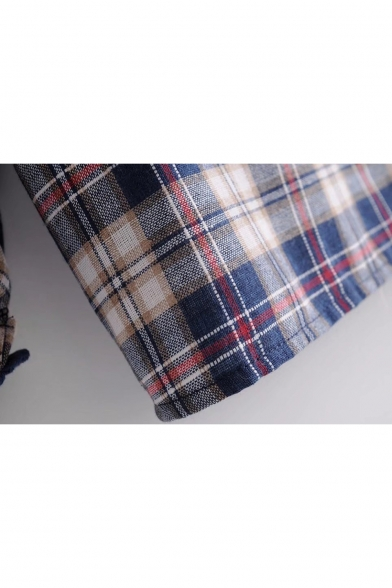 Classic Plaid Print Lace Insert V-Neck Long Sleeve Blouse