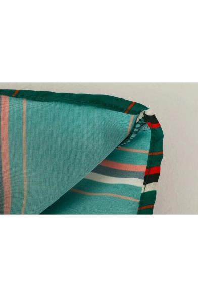 Classic Striped Print Round Neck Long Sleeve Drawstring Waist Blouse