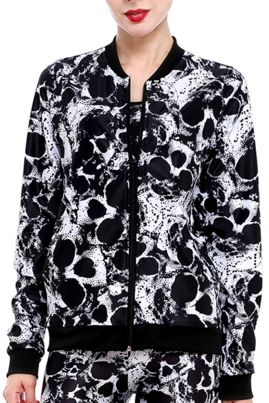 Jacket Pattern Sleeves Long Skull with Zippered Pockets Cool Monochrome xYtwqnRWY5