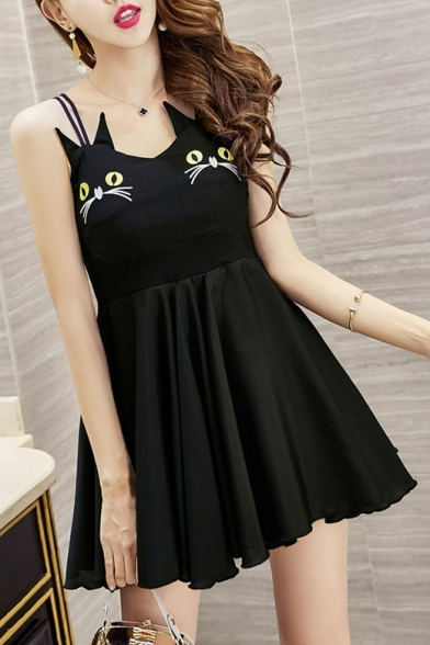 Cute Double Cat Pattern Spaghetti Straps Mini A-line Cami Dress