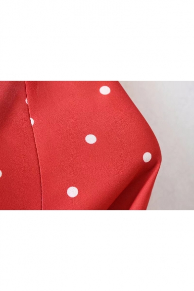 Fancy Polka Dot Pattern Round Neck Bell Sleeves Cropped Blouse