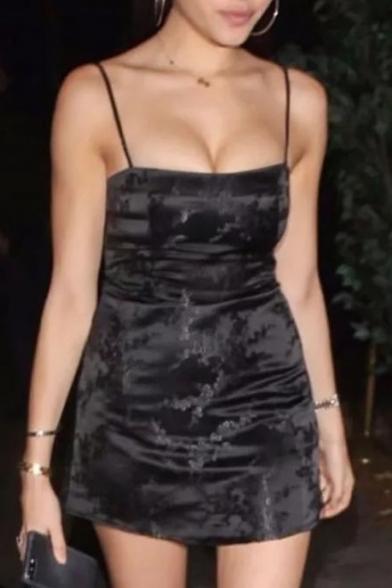 Hot Fashion Spaghetti Straps Floral Pattern Bodycon Mini Cami Dress