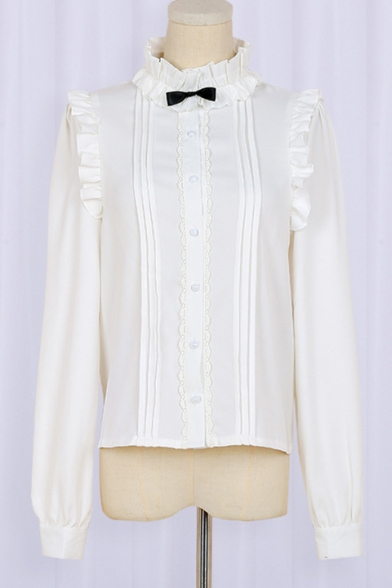Mandarin Collar Long Sleeve Single Breasted Plain Bow Embellished Blouse