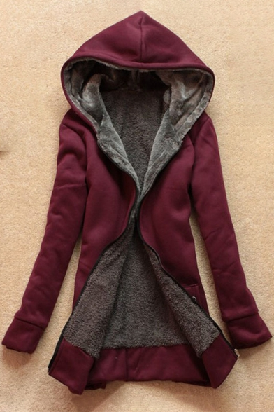 New Fashion Plain Zip Up Long Sleeve Leisure Hoodie