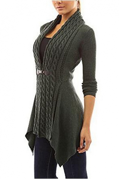 New Stylish Simple Plain Long Sleeve Tunic Cardigan