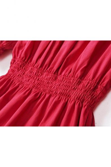 Nifty Off the Shoulder Elastic Waist & Cuffs Short Sleeves Plain Fit & Flared Mini Dress