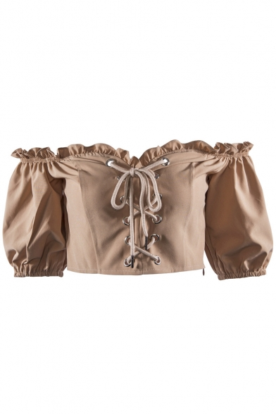 Retro Cropped the Blouse Front Detail Off up Shoulder Lace Ruffle FF8Aqxr