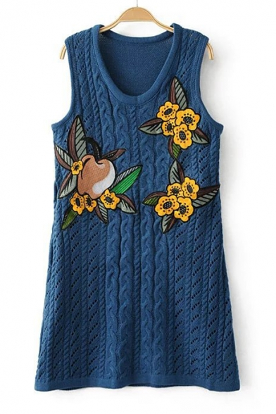 Double Sleeveless V Retro Knitted Floral Sweater Embroidered Apple Dress Neck Tank Mini wqRpxnxY