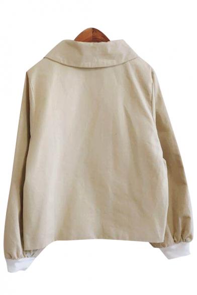 Retro Simple Plain Long Sleeve Single Breasted Coat