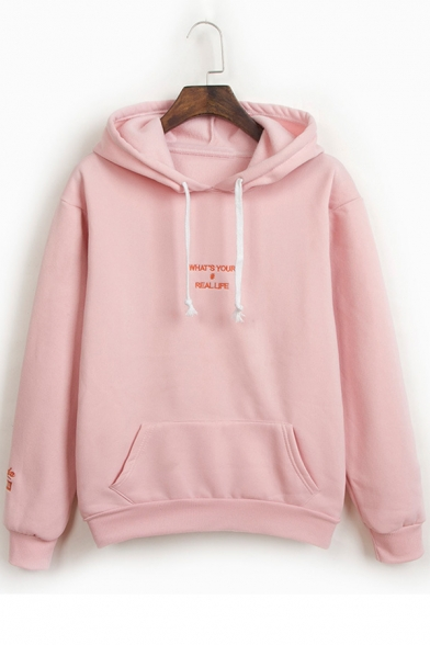 Embroidery Pocket Simple Leisure Hoodie Letter Pullover with Sleeves Long 5pTq8wxpg