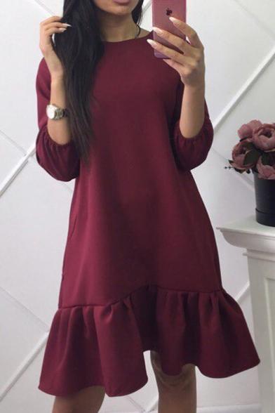 Simple Plain Round Neck 3/4 Length Sleeve Ruffle Hem Dress