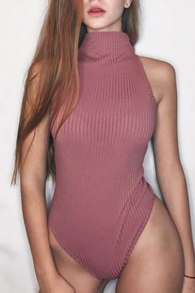 Turtleneck Plain Simple Sleeveless Plain Turtleneck Sleeveless Bodysuit Simple UnH4p