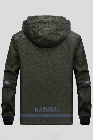 Spring Hooded Pockets Zippered Pattern Collection Jacket Letter with Camouflaged 4wqS64Ar