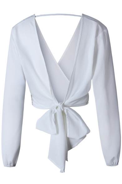 Stylish Cutout Hollow Bow Tie-Back Wrap Front Blouson Sleeves Plain Cropped Blouse