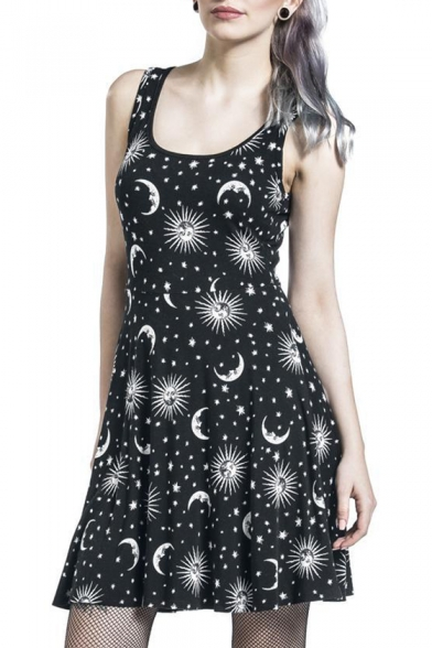 6669e2eee Stylish Star Moon Sun Printed Scoop Neck Cutout Hollow Back Tank ...