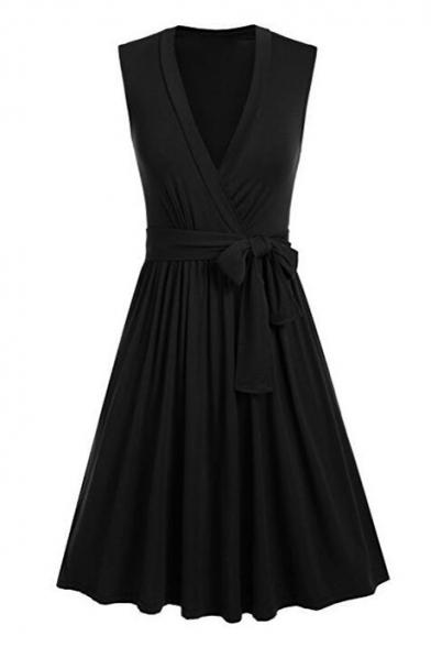 Stylish V-Neck Bow Tie Belted Plain Wrap Front Midi Dress