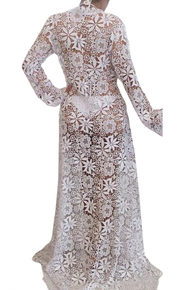 Summer Fashion Floral Lace Panel Bow Tie Front Hollow Out Maxi Cover Up
