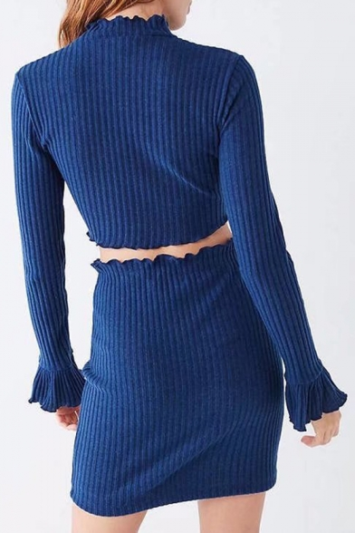 Trendy Plain High Neck Ruffle Trimmed Ribbed Knitted Cropped Top with Bodycon Skirt