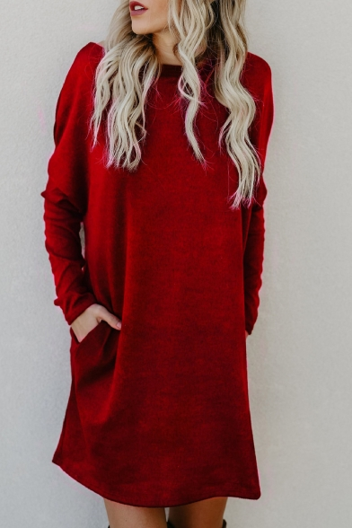 Winter Fashion Boat Neck Long Sleeves Plain Double Pockets Pullover Knitted Dress