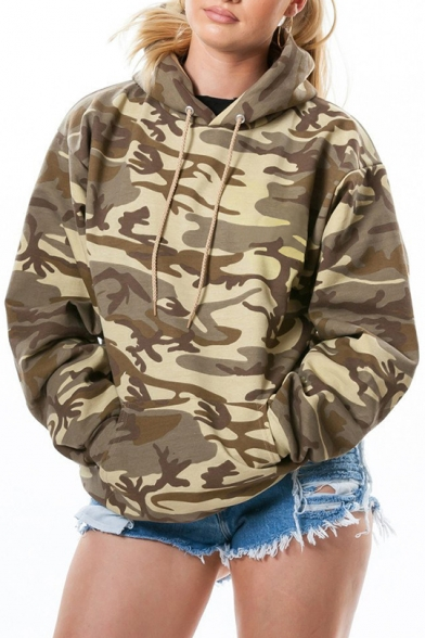 Winter Fashion Camouflaged Pattern Long Sleeves Oversize Hoodie with Pocket