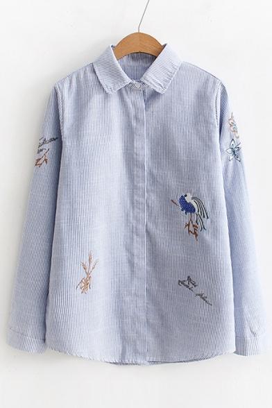Bird Floral Embroidered Long Sleeve Lapel Long Sleeve Shirt