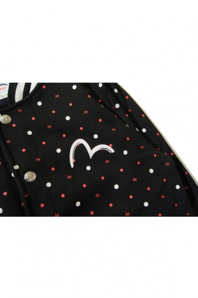 Chic Polka Dot Striped Print Stand-Up Collar Long Sleeve Single Breasted Baseball Jacket