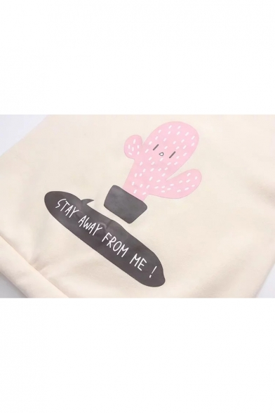 Sleeves Block Lace Color Sweatshirt Cactus Neck Letter Round up Cute Cartoon Pullover IR4xZI0