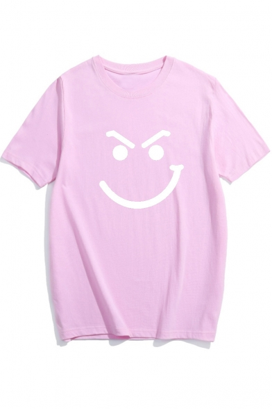 Funny Face Print Short Sleeve Round Neck Casual Tee