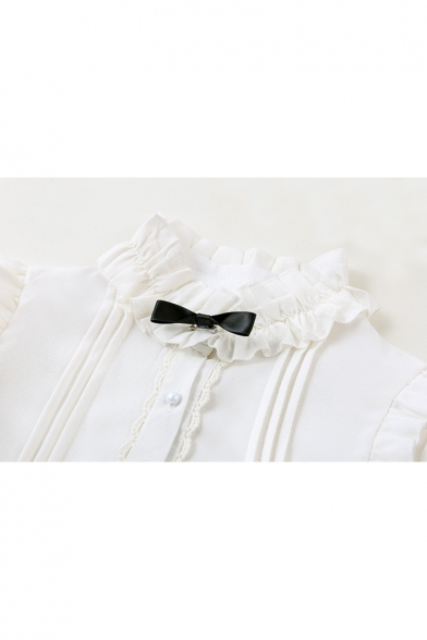 Mandarin Collar Long Sleeve Single Breasted Plain Bow Embellished Blouse