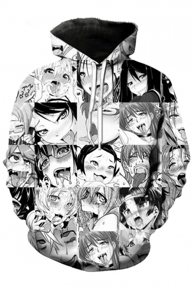 Cartoon Pullover with Pocket Monochrome Long Comic Printed Character Sleeves Hoodie vBdadYxw