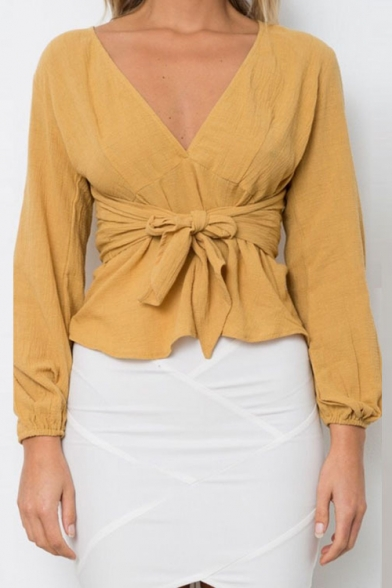 New Chic Plunge Neck Long Sleeve Bow Tied Waist Plain Blouse