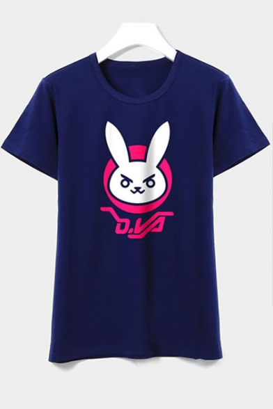 Sleeve Tee Rabbit Print Short New Round Stylish Cartoon Neck pPxAPw4O