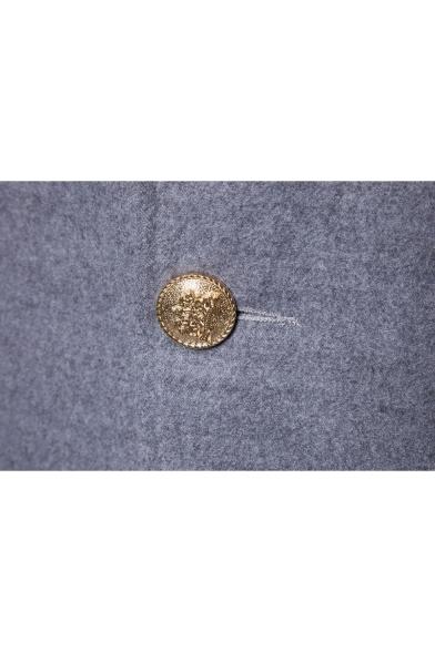 Simple Plain Double Button Lapel Long Sleeves Winter Fashion Longline Coat