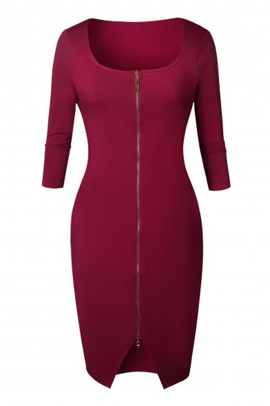 Simple Stylish Plain Zippered Scoop Neck Notched Hem Bodycon Midi Dress