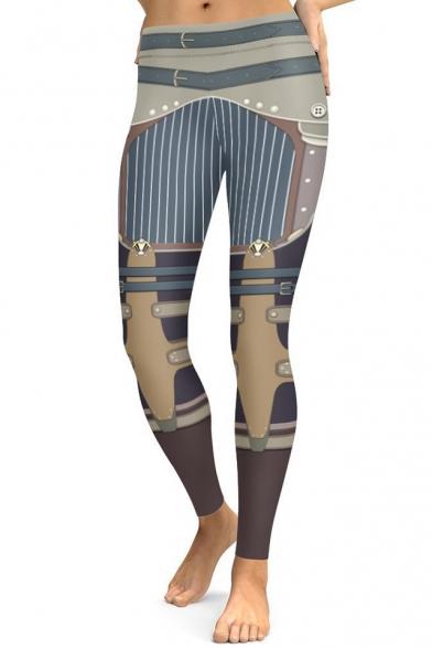 Steampunk Color Block Striped Pattern Slim-Fit Elastic Waist Leggings