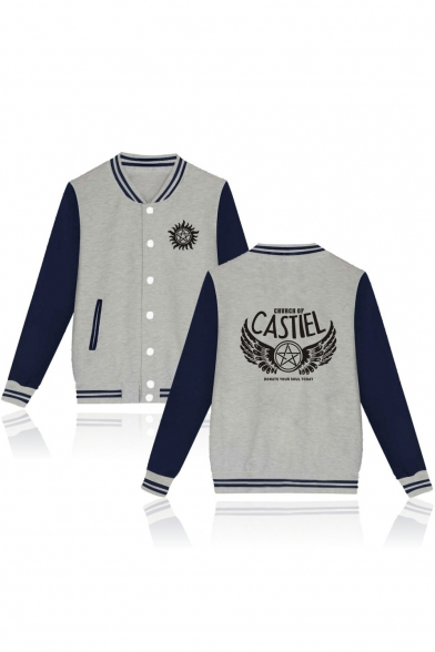Street Style Letter Wing Star Sun Printed Button Down Color Block Unisex Baseball Jacket