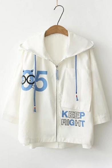 Stylish Cartoon Number Letter Print Zipper Long Sleeve Dip Hem Hooded Coat