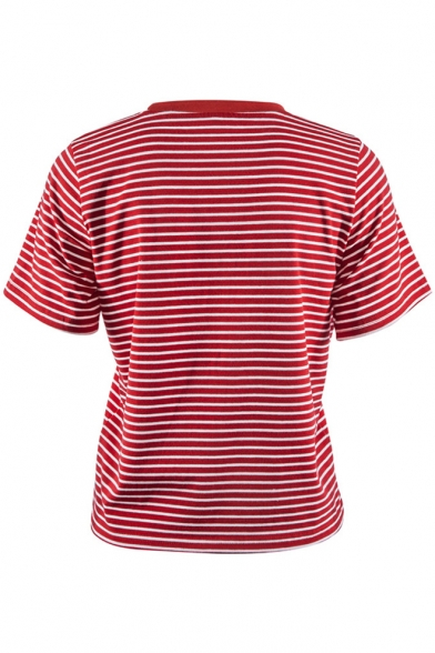 Stylish T shirt Striped Letter Sleeves Pattern Round Neck Short Casual pfpxrwq