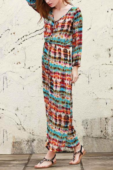 Front Sleeve Dress Tie Split Long Elastic V Dye Neck Waist Maxi FFZwIYq