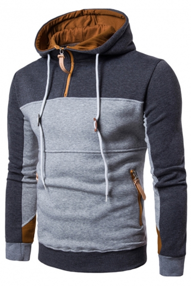 Front with Sleeves Pockets Zipped Color Trendy Long Hoodie Block Pullover Zipper SCFUwxpaq