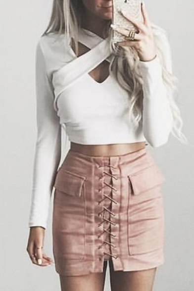 Hollow Tee Trendy Front Cutout Slim Fit Cross Long Sleeves Cropped EwzB6fq