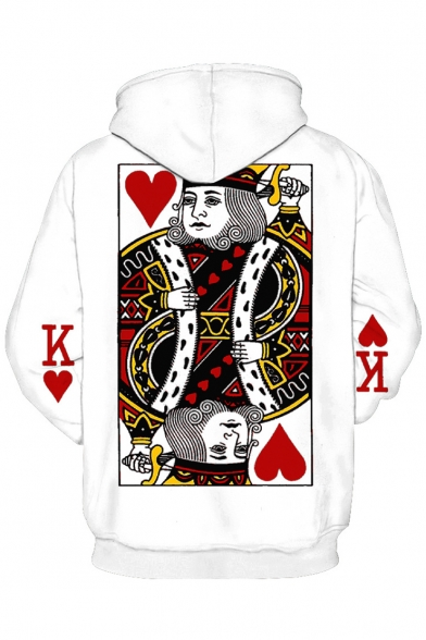 Unique Poker Cards King Printed Long Sleeves Pullover Hoodie with Pocket